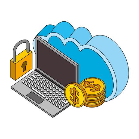 Ilustración de vector de almacenamiento de seguridad de computación en equipo de nube de computación virtual Foto de archivo - 102109561