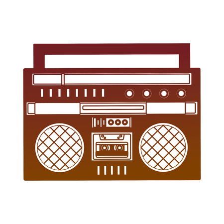 cassette radio player device retro vintage vector illustration