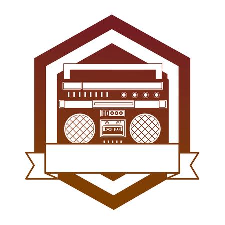 cassette radio player device vintage emblem vector illustration