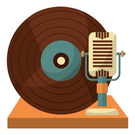 microphone and vinyl music retro style vector illustration design