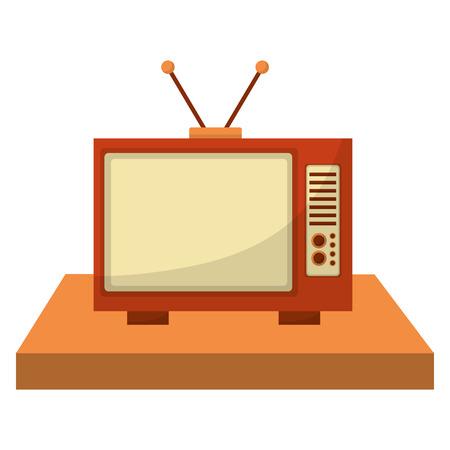 shelf with tv old retro style vector illustration design