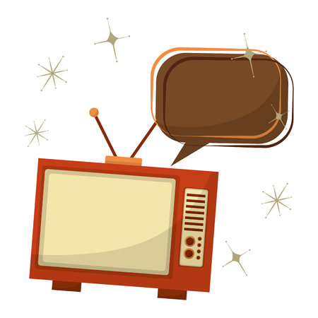tv old with speech bubble retro style vector illustration design