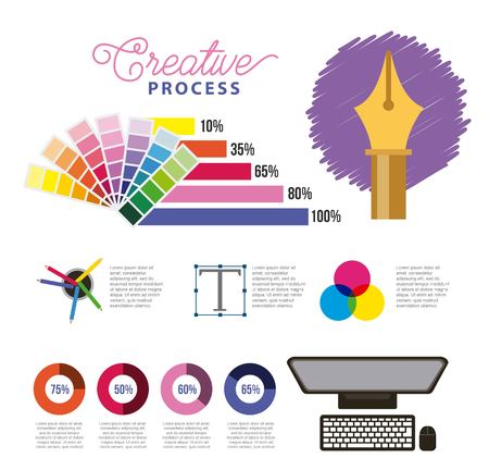 computer color sample palette design creative process infographics vector illustration Иллюстрация
