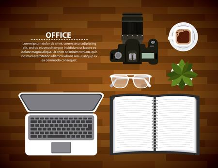office laptop open notebook glasses photographic camera and coffee on wooden table vector illustration Stock Illustratie