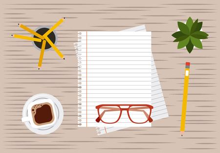 paper pencil glasses and coffee working process vector illustration