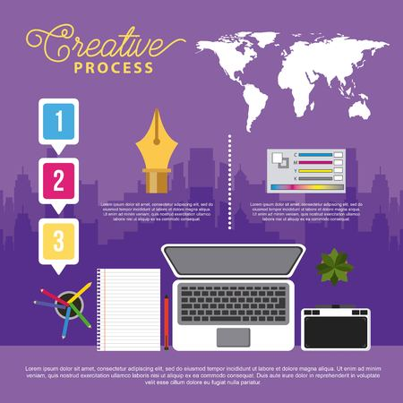 laptop graphic design tablet book creative process infographics vector illustration