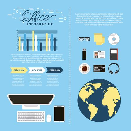 office computer smartphone world working process infographic vector illustration