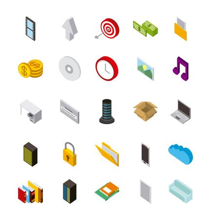 cloud computing storage data server clock target music icons isometric vector illustration