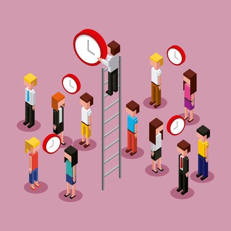 people characters isometric clock time business vector illustration