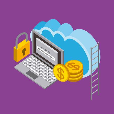 cloud computing storage laptop code security coins money isometric vector illustration