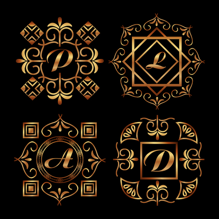 golden ornamental letters with art deco frame vintage decorative vector illustration