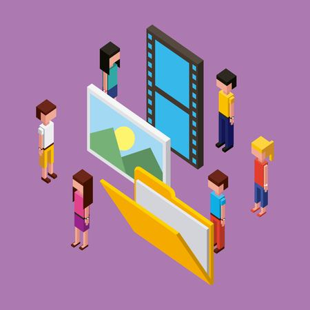 people working creative process photos folder with papers girls boys vector illustration isometric Imagens - 102109440
