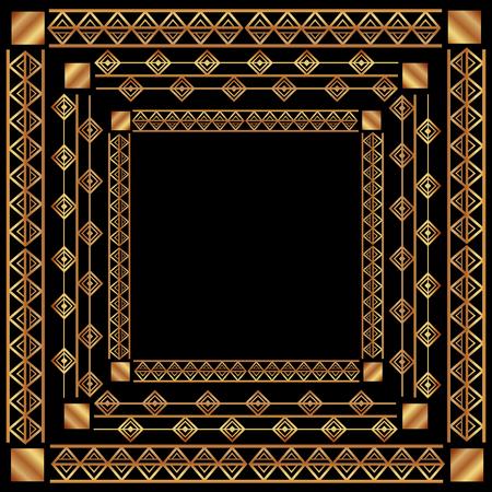 art deco decorative swirl luxury golden filigree vector illustration Illusztráció