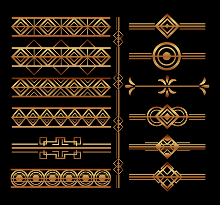 set of art deco frames and borders vignette decoration vector illustration