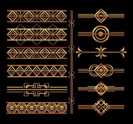 zestaw ilustracji wektorowych dekoracji winiety w stylu art deco i granic Ilustracje wektorowe