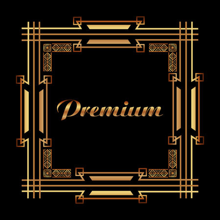 art deco premium frame golden luxury abstract vector illustration