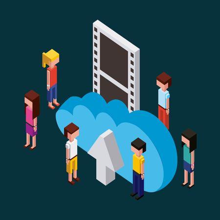 people working creative process toys looking arrow upload cloud  vector illustration isometric Illusztráció