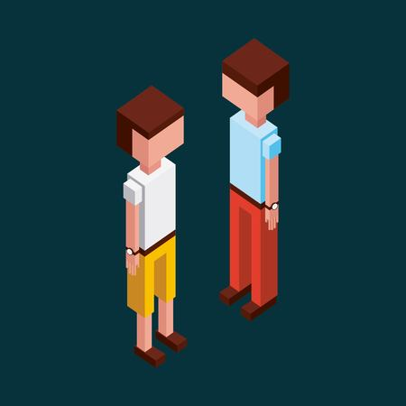 green background boys looking standing up vector illustration isometric Иллюстрация