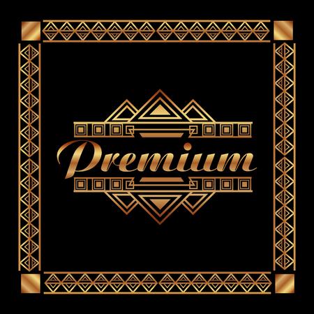 art deco premium frame golden luxury abstract vector illustration