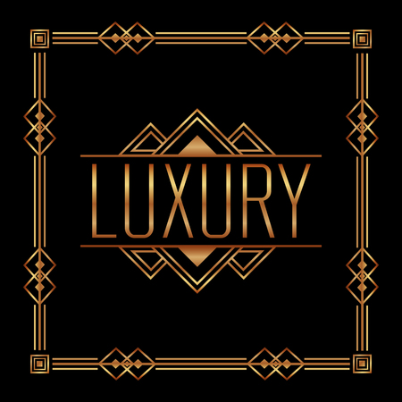 art deco luxury frame elegant geometric vintage style vector illustration