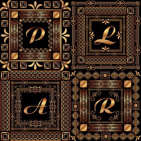 golden ornamental letters with art deco frame vintage decorative vector illustration