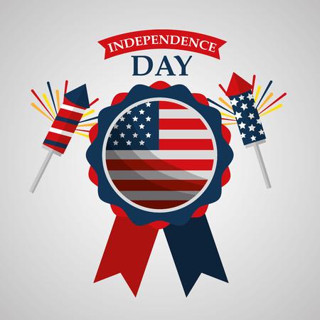 rosette and fireworks celebration american independence day vector illustration