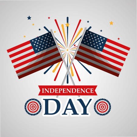 crossed flags and fireworks explosion american independence day vector illustration