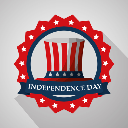 top hat in badge flag american independence day vector illustration Illustration