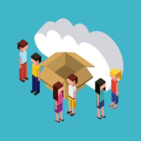 people looking creative open box cloud dates vector illustration isometric