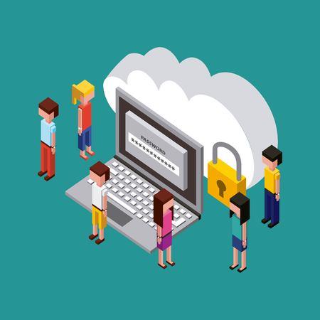 people creative process computer password cloud save data padlock vector illustration isometric Çizim