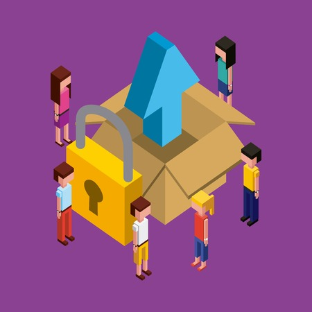 people working creative process open box with arrow upload padlock vector illustration isometric