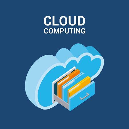 cloud computing storage drawers folder documents isometric vector illustration Illustration