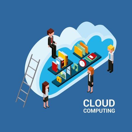 people cloud computing storage books documents folder time photo isometric vector illustration