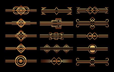 set of art deco frames and borders vignette decoration vector illustration