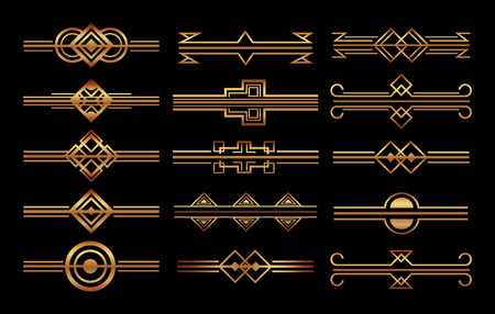 set di cornici art deco e bordi decorazione vignetta illustrazione vettoriale