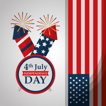 rockets fireworks label flag american independence day vector illustration Фото со стока - 102109073