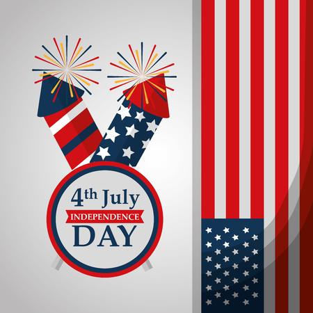 rockets fireworks label flag american independence day vector illustration  イラスト・ベクター素材