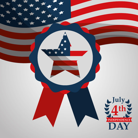 flag on rosette american independence day vector illustration Archivio Fotografico - 102109074