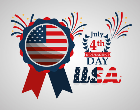 rosette american flag fireworks american independence day vector illustration Illustration