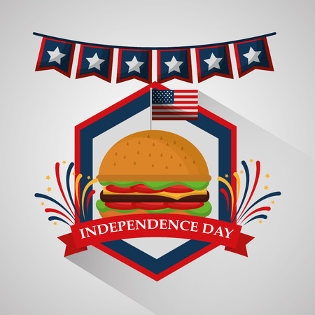 pennant and burger food for american independence day vector illustration Vettoriali
