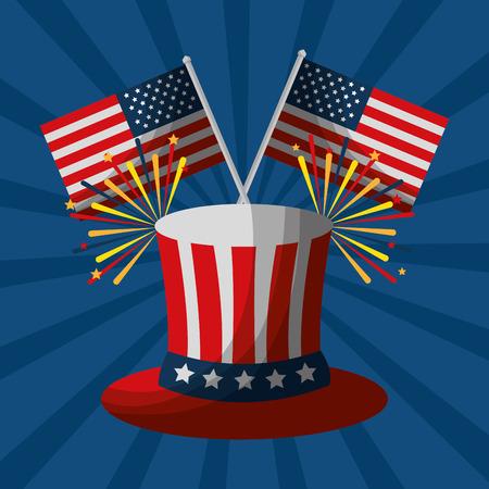Fuegos artificiales de san valentín y la bandera americana ilustración vectorial día de la independencia Foto de archivo - 102109079