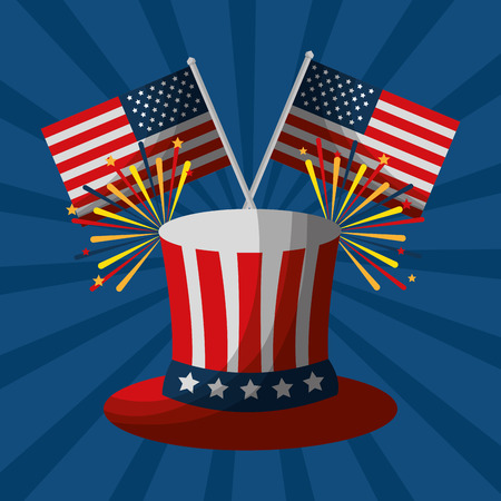 top hat fireworks and flag american independence day vector illustration