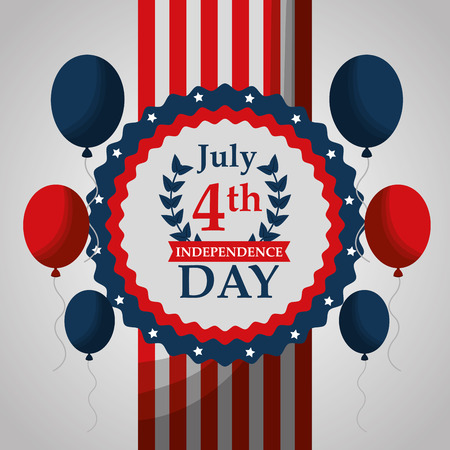 american independence day badge balloons national celebration vector illustration