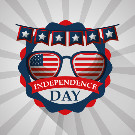 flag in sunglasses with pennant label american independence day vector illustration Illustration