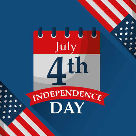 calendar reminder flags american independence day vector illustration  イラスト・ベクター素材