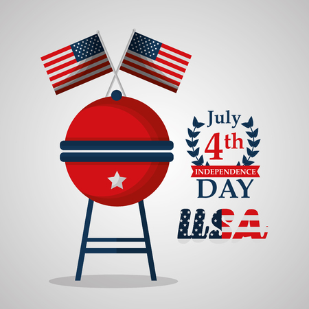 grill and flags american independence day vector illustration Ilustrace