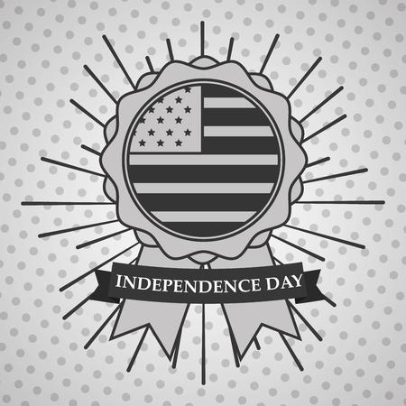rosette flag sunburst american independence day card vector illustration