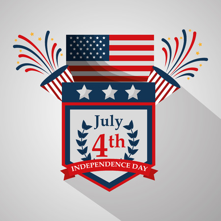 pennant flag fireworks decoration american independence day vector illustration