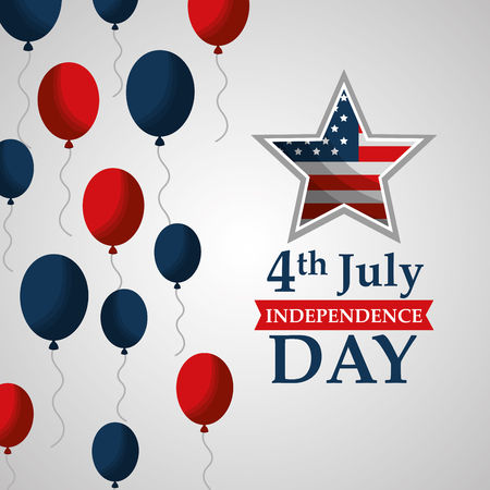 flying balloons star ornament american independence day vector illustration