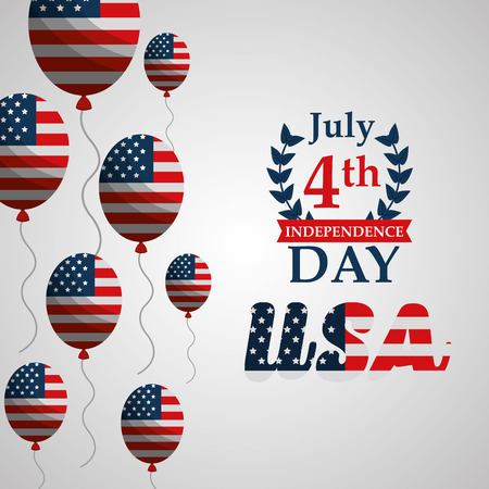 balloons with flag american independence day vector illustration Illustration